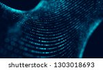 wave of particles. abstract... | Shutterstock . vector #1303018693