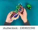 diy masquerade mask mardi gras  ...   Shutterstock . vector #1303021540