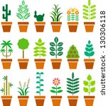 set of vectorized plants in a... | Shutterstock .eps vector #130306118