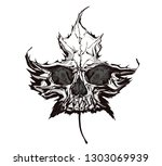 leaf skull. hand drawn vector... | Shutterstock .eps vector #1303069939
