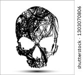 vector skull with flow tangled... | Shutterstock .eps vector #1303070806