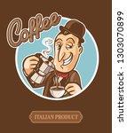 coffee moka cartoon | Shutterstock .eps vector #1303070899