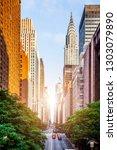 42nd street  manhattan viewed... | Shutterstock . vector #1303079890