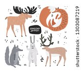 woodland animals hand drawn... | Shutterstock .eps vector #1303087219