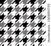 Houndstooth Classic Motif Black ...