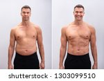 Small photo of Portrait Of A Mature Man Before And After Weight Loss On White Background. Body shape was altered during retouching