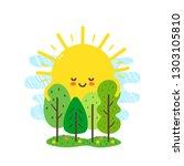 cute happy smiling sun hugs... | Shutterstock .eps vector #1303105810