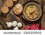 the sour soup made of rye flour.... | Shutterstock . vector #1303105933