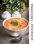 fresh tomato soup with noodles... | Shutterstock . vector #1303105966