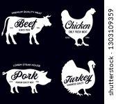 farm animals icons set.... | Shutterstock .eps vector #1303109359