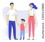happy young family dad  mom ... | Shutterstock .eps vector #1303110880