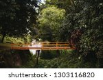 wooden bridge into forest with...   Shutterstock . vector #1303116820