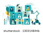vector business graph  open... | Shutterstock .eps vector #1303148446