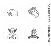 4 line mammoth  troglodyte ... | Shutterstock .eps vector #1303156630