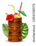 refreshing tropical cold tiki... | Shutterstock .eps vector #1303158373