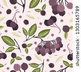realistic aronia berry vector... | Shutterstock .eps vector #1303165789