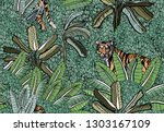 seamless pattern tiger in deep...   Shutterstock .eps vector #1303167109