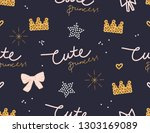 trendy cute childish print.... | Shutterstock .eps vector #1303169089