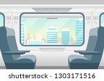 cartoon train inside interior... | Shutterstock .eps vector #1303171516