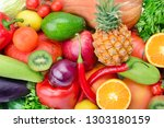 background of collection fresh... | Shutterstock . vector #1303180159