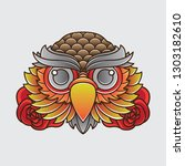 vintage owl head tattoo design  ... | Shutterstock .eps vector #1303182610