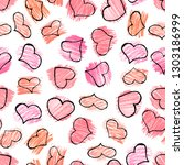 seamless pattern with red hand... | Shutterstock .eps vector #1303186999