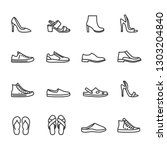 vector set of shoes line icons. | Shutterstock .eps vector #1303204840