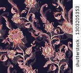 seamless pattern with ethnic... | Shutterstock .eps vector #1303205353