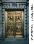 a golden door in madrid  spain | Shutterstock . vector #1303205833