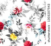 seamless floral background... | Shutterstock .eps vector #1303207543