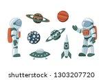 vector set of cartoon flat... | Shutterstock .eps vector #1303207720