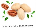 pecan nut decorated with green... | Shutterstock . vector #1303209670