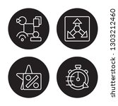 4 linear vector icon set  ... | Shutterstock .eps vector #1303212460