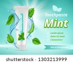 mint toothpaste. dent... | Shutterstock .eps vector #1303213999