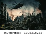 helicopter and forces in... | Shutterstock . vector #1303215283