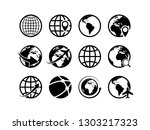 earth globe icons. world map... | Shutterstock .eps vector #1303217323