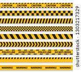 police tape. yellow taped... | Shutterstock .eps vector #1303217329
