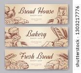 bakery banners. hand drawn... | Shutterstock .eps vector #1303217776