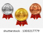 realistic award medals. winner... | Shutterstock .eps vector #1303217779