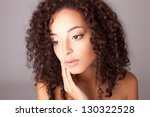 portrait of a beautiful mix... | Shutterstock . vector #130322528