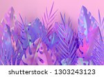 tropical iridescent palm leaves ...   Shutterstock . vector #1303243123