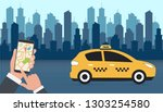 taxi. hand holding smart phone... | Shutterstock .eps vector #1303254580