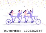 happy business people team is... | Shutterstock .eps vector #1303262869
