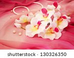 white orchids  necklace  beads... | Shutterstock . vector #130326350