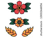oldschool traditional tattoo... | Shutterstock .eps vector #1303266856