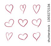set of hand drawn hearts icons... | Shutterstock .eps vector #1303272136