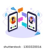 two people man and woman... | Shutterstock .eps vector #1303320016