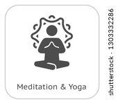 yoga meditation icon. flat...   Shutterstock .eps vector #1303332286