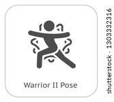 yoga warrior ii pose icon. flat ... | Shutterstock .eps vector #1303332316