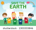 kids for saving earth  save the ... | Shutterstock .eps vector #1303333846